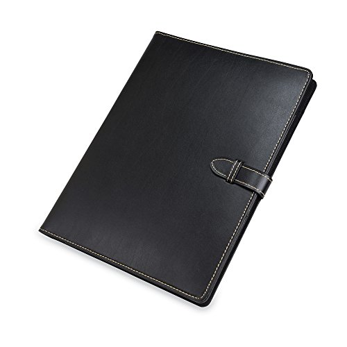 Samsill Contrast Stitch Leather Padfolio with Strape Closure- Portfolio Folder/Business Portfolio for Men & Women - Resume Document Organizer, 8.5 x 11 Writing Pad, Tan