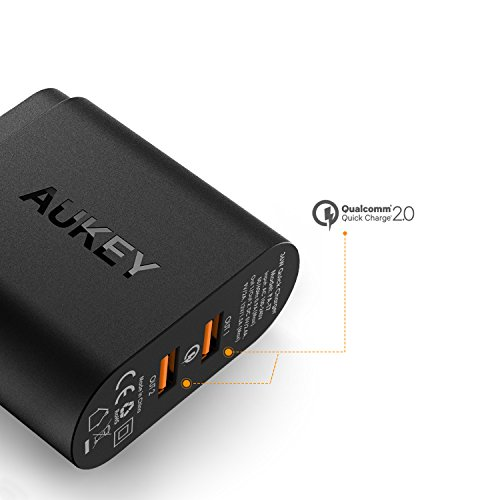 AUKEY USB Wall Charger, Quick Charge 2.0 with Dual Ports for iPhone X / 8 / 8 Plus / 7 / 7 Plus / 6s / 6s Plus, iPad, Samsung Galaxy, and More
