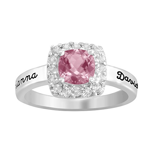 ArtCarved Reflection Personalized Simulated Birthstone Women's Ring, Sterling Silver, Size 8