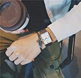 JEGOAU Waterproof Couple Lover Watch Women Girls Square Creative Retro Style Lady Student Influx Men Men's Rectangular Wristwatch Woman Cute Gift (Coffee with a Large White Plate (Feeding cas