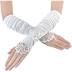 JISEN Women Fingerless Gathered and Beaded Fold Floral Embroidery Lace Sequins Satin Bridal Party Gloves 15 White