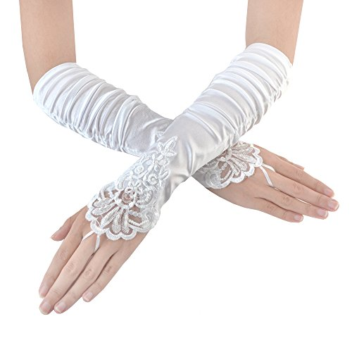 JISEN Ladies's Fingerless Long Gathered and Beaded Fold Floral Embroidery Lace & Sequins Satin S06 Bridal Party Gloves 15 (White)