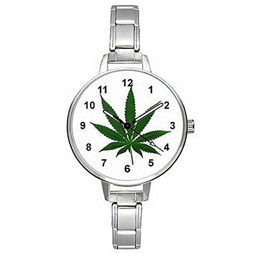 BMTC082 Marijuana Leaf Mens Ladies Stainless Steel Italian Charm Wrist Watch