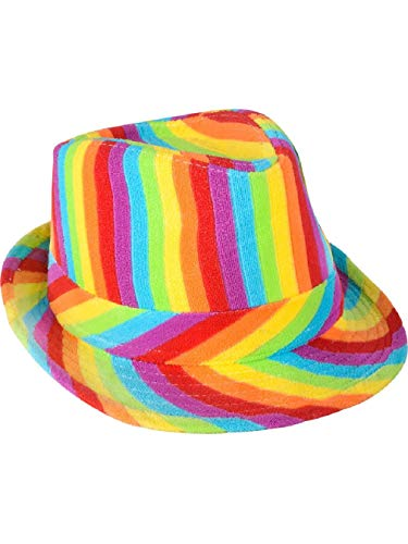 Adults Rainbow Pride Gangster Clown Fedora Hat Cap Costume Accessory