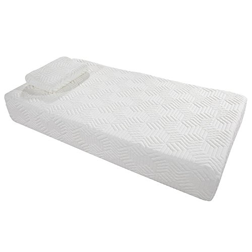"10"" Memory Foam Mattress Three Layers Cool Medium High Softness Cotton Mattress w/2 Pillows (Twin Size) White from yis-henson"