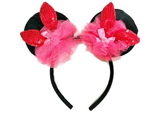 Furry Costumes Tumblr (MeeTHan Mickey Minnie Mouse Ears Sequin Crystal Bows Kids Headbands : M13 (Red -RB))