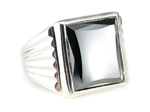 925 Market Square Hematite Sterling Silver Statement Ring - Hematite Square Ring