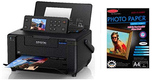 Epson PictureMate PM 520 Photo Printer with Bambalio BPG 180 50  Classic  Glossy Photo Paper, 180 GSM, 50 Sheets A4 Size