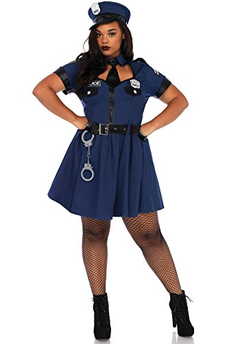 Leg Avenue Women's Plus Size Sexy Police Officer Costume, Blue, 3X-4X]()