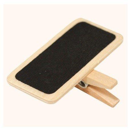 Mini pizarra sobre pinza en madera natural, 4 x 3 cm ...