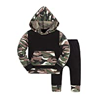 Huata Baby Boy Girls Outfits 2Pcs Clothes Hoodie Tops and Pants (6-12 Months, Camouflage)