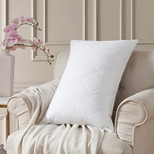 L LOVSOUL Goose Feather Bed Pillows,Medium Firm Feather Pillows Queen Size-20x28,100% Egyptian Cotton Cover,600TC