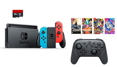Nintendo Switch 7 items Bundle:Nintendo Switch 32GB Console Red and Blue,64GB Sd Card Nintendo Switch Pro Wireless Controller,4 Game Disc1-2-Switch Just Dance2017 The Legend of Zelda Super Bomberman R