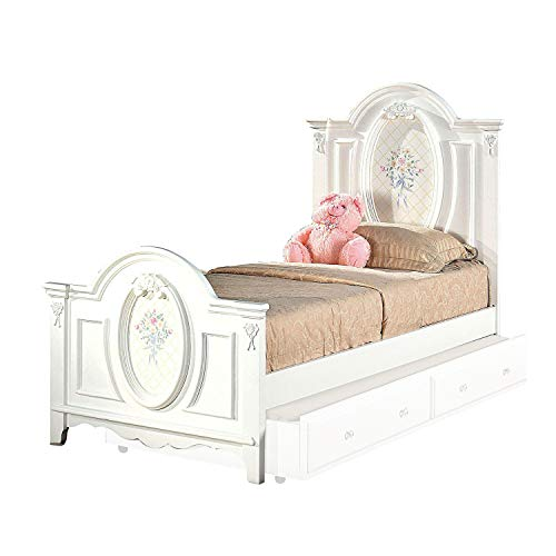 Benjara BM196725 Floral Motif Full Size Wooden Panel Bed with Arched Headboard and Footboard, White
