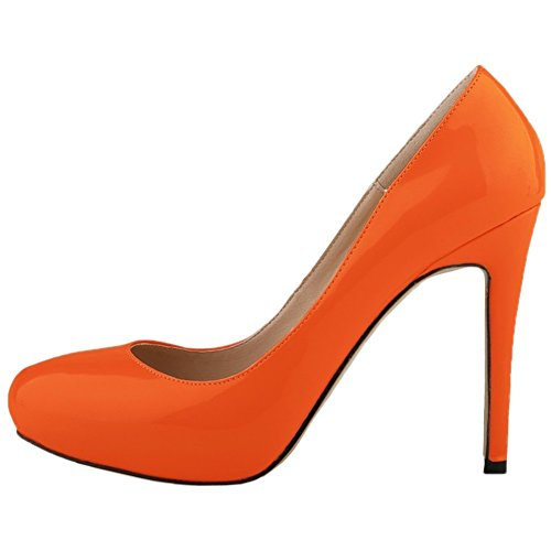 Pumps Pumps Platform Shoes Wedding Heel Orange Women's Dress On Slip HooH High 1FH66q
