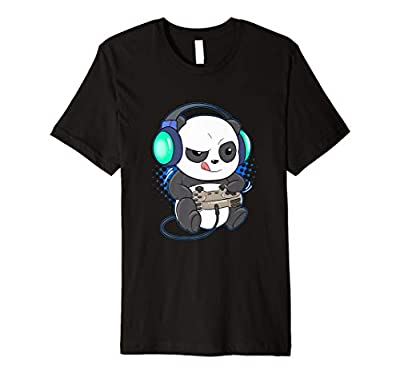 Mens Cute Gaming Panda Video Game Computer Player Videogame PC Premium T-Shirt