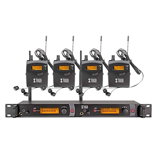 (XTUGA RW2080 Rocket Audio Whole Metal Wireless in Ear Monitor System 2 Channel 4 Bodypack Monitoring with in Earphone Wireless Type Used for Stage or Studio)