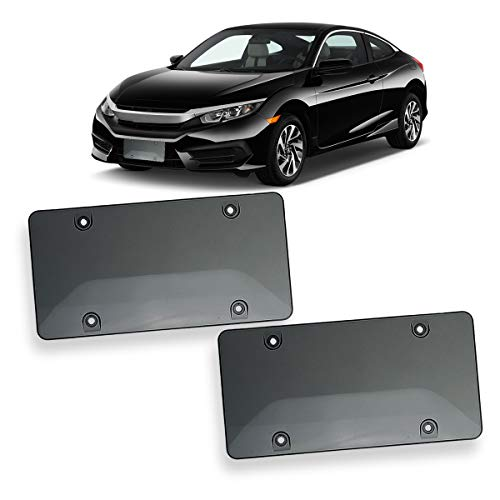 Mounting Plate Cover - VaygWay Unbreakable Smoked License Plat Cover- Bubble Design License Plate Shields-2Pk Fits US Standard Plates- Novelty Heavy Duty Front and Back