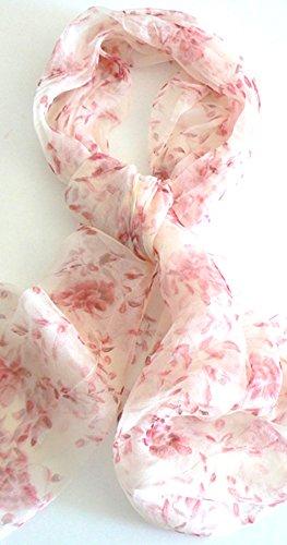 Silk Salon Oblong 100% Silk Scarf Belt Hand Rolled Edges Floral Rain Sunset A501