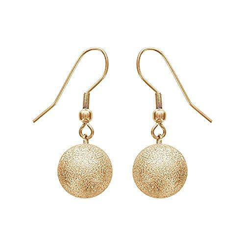 Granite Drop Pendant - So Chic Jewels - Stainless Steel 12 mm Golden Granite Look Ball Pendant Dangle Hook Earrings