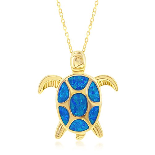 - Sterling Silver Gold Tone Created Blue Opal Nautical Sea Turtle 18