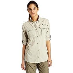 Columbia Women's Bahama Long Sleeve Shirt, Fossil, X-Large
