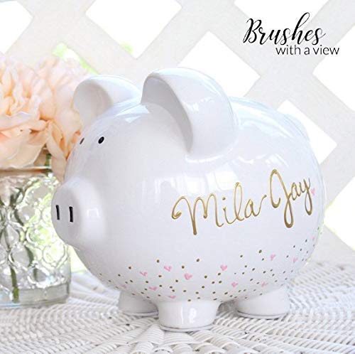 Hand Painted Personalized Large Piggy Bank for Girls, Custom Hand Painted Piggy Bank for Girls, Baby Shower Gift, Birthday Gift Flower Girl Gift, Custom Colors Available (Painted Bank)