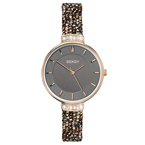 Women's Watch, Swarovski Crystal Watch, Luxury, Fashion Watch, Water Resistant, Extra Clasps, Seksy Rocks Collection (Rose Gold/Slate Grey)