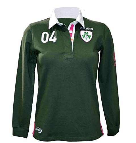 Green Ireland 3 Shamrock Ladies Long Sleeve Rugby Shirt-Small -