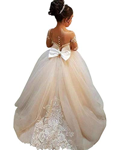 MuchXi Lovely Lace Flower Girls Dresses Kids First Communion Dress Princess Wedding Pageant Ball Gown Champagne Custom Made
