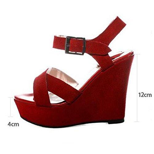 Mr. LQ - Moda femenina de cuero genuino Open Toe Tobillo hebilla Sandalias Black