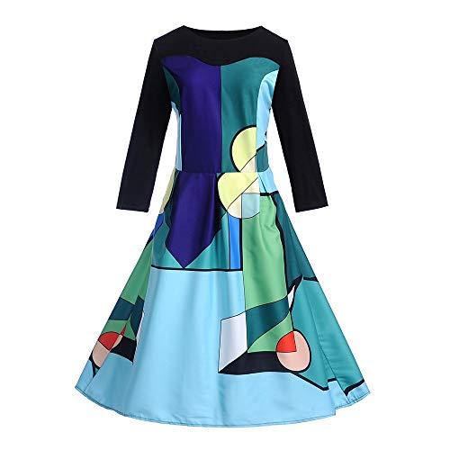 Elegante Linea 50s Vintage Floreale Manica 2 Una Donna Casuale Swing Cocktail Festa Lunga Dress Italily Hepburn Blu Vestito Stampato Sera fgOZnpq
