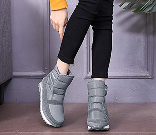 Boots Teenage Ankle Grey Outdoor Warm Shoes Slip NEOKER Navy Womens UK Black Lined Snow Grey Boots Winter Red Mens Boots Anti 10 3 Fur Waterproof P0t0wqfx