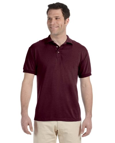 Heavyweight Jersey Sweater - Jerzees mens 5.6 oz. Heavyweight BlendJersey Polo(J300)-MAROON-3XL