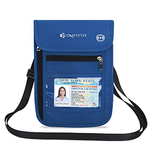 Travel Neck Pouch Neck Wallet with RFID Blocking Purple Passport Holder to Keep Your Cash And Documents Safe