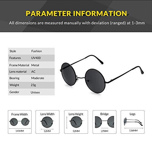 para Finomo Vintage hombres Negro lente y retro con sol Marco Circle Gris redondas Gafas metal de Lente marco de mujeres UV400 6zCwq6xZr