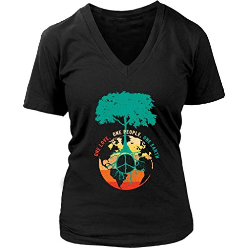 World Peace Tree Tshirt - Love People Earth Day Tee Shirt - Womens Plus Size Up to 4X Black (Peace And Size Love Plus T-shirt)