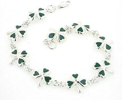 Green suede bracelet with shamrock charm