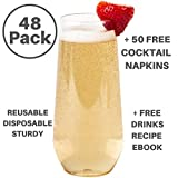 48 Pack Stemless Clear Plastic 9oz. Champagne Flutes Disposable/Reusable/Unbreakable Plus: 50 White Napkins & eBook on Cocktail Recipes! For: Party Celebration, Wedding, Baby Shower, Or Event!