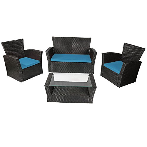 Sunnydaze Brisbane 4 Piece Rattan Patio Furniture Set, Blue Cushions (Brisbane Outdoor Sofas)