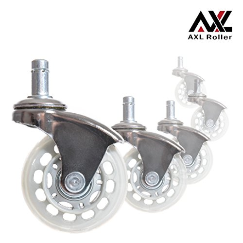 AXL Office Chair Caster Wheels Replacement Heavy Duty with Rollerblade Style (Soft Rubber) - Safe for Hardwood Floors, Carpet, Desk Floor Mat - 2.5 Inch Chrome /Grey Clear Wheel, Universal Fit by AXL Roller