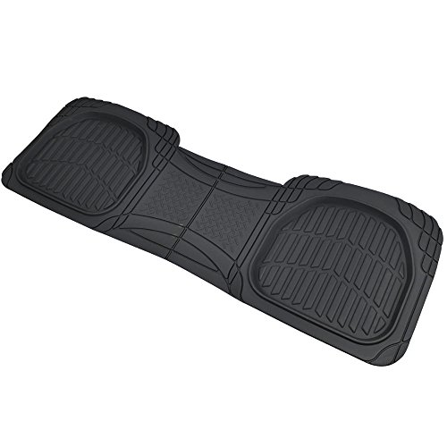 Motor Trend PRO920 Black Premium FlexTough Dep Dish Rear Rubber Mats All-Protection Universal Design for Cars Sedan Truck SUV