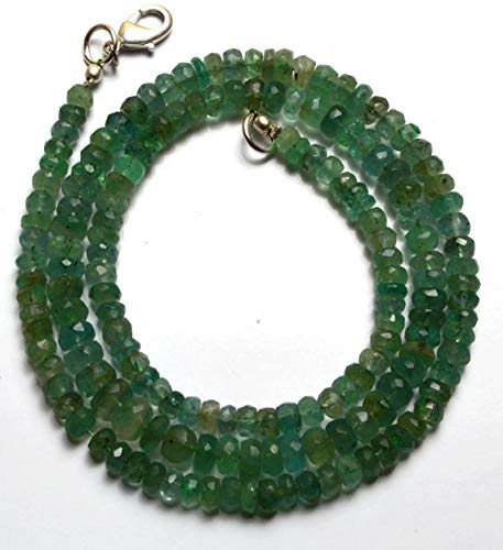 GemAbyss Beads Gemstone 1 Strand Natural 19 Inches Stands AAAA Gems Quality 100% Natural Emerald Transparent Faceted Roundels Beads Necklace 4 to 6 MM Code-MVG-21790