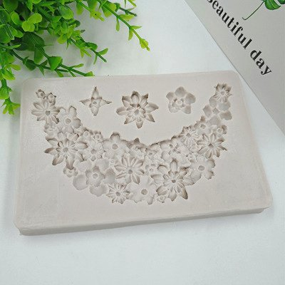 lace Flowr Shape silica gel mold small flower necklace cake decoration lace Silicone Mold h973 ()