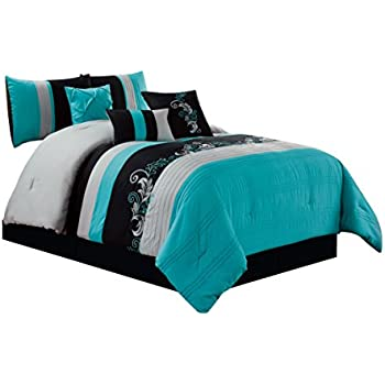 Exceptionnel Chezmoi Collection Napa 7 Piece Luxury Leaves Scroll Embroidery Bedding Comforter  Set, King, Teal/Gray/Black
