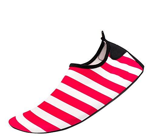 Himal Wasserschuhe Für Frauen Männer Wasser Socken Wasserdichte Aqua Socken Schwimmen Schuhe Für Beach Volleyball Sport Übung Schuhe Aktive Schuhe Erwachsene G2 Rot-Weiß-Streifen