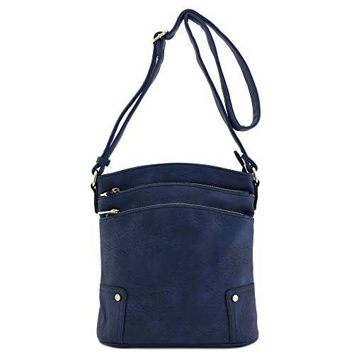 Navy Triple Large Crossbody Pocket Zip Bag wxF8wr