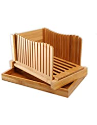 GloBamboo Bamboo Wood Bread Slicer with Cutting Board, Compact Foldable Adjustable - Bamboo Wood Cutter Box Adjustable and Crumb Tray Foldable Compact Cutter