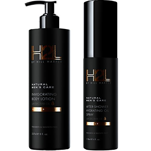 H2L Premium Natural Hydrating Body Oil & Invigorating Lotion Combo For Men By Hill Harper