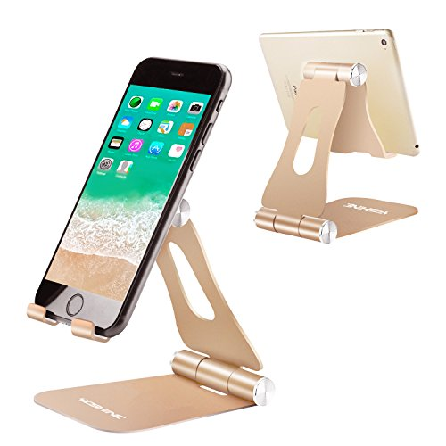 Cell Phone Stand for Desk, YOSHINE Portable Cell Phone Holder Adjustable Tablet Stand Aluminum Stand Holder Cradle Charging Dock for Nintendo Switch All Smartphones and Tablets (4-13) - Gold